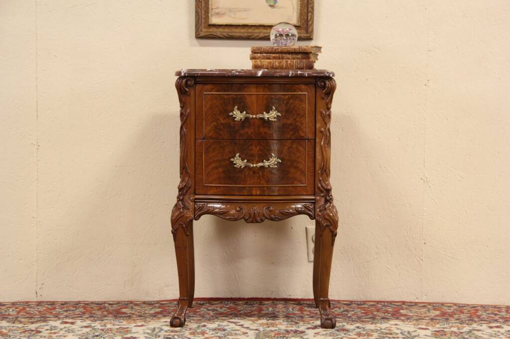 Sold Marble Top 1920 Carved Night Stand Bedside Or End