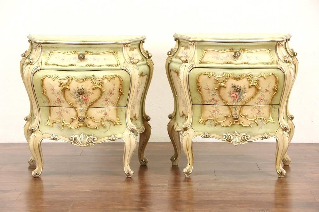 Sold Pair Of Venetian Hand Painted Baroque Vintage