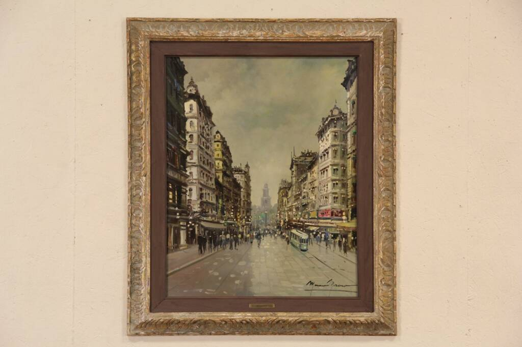 Sold Moreno Signed 1950 Vintage Oil Painting Paris Street Scene Harp Gallery