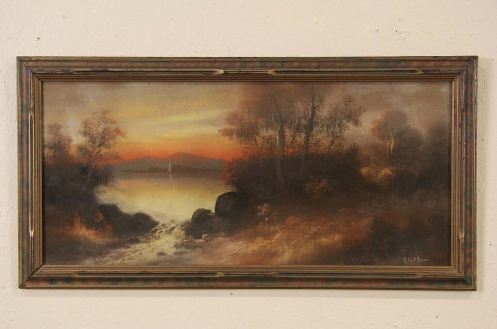 Sold Sunset Original Signed 1900 Pastel Or Chalk Drawing