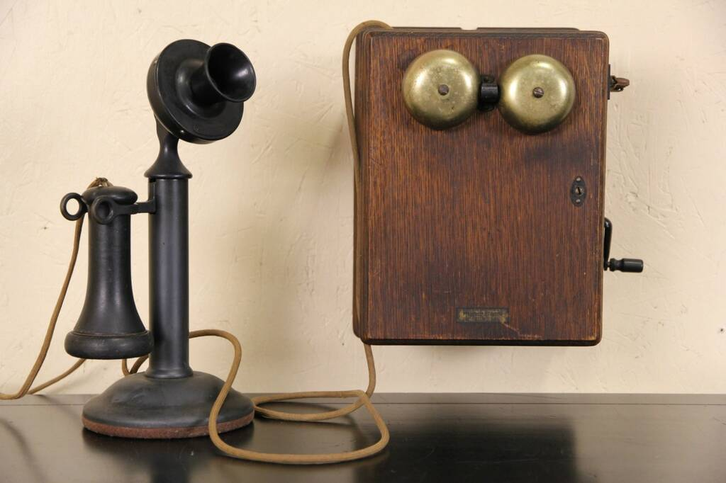 Sold Western Electric Antique 1915 Candlestick Telephone