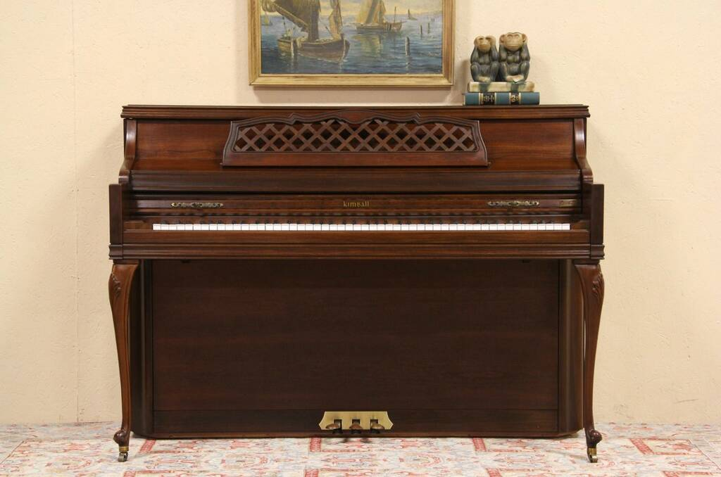 Sold Kimball Cherry 1974 Console Piano Harp Gallery Antique Furniture