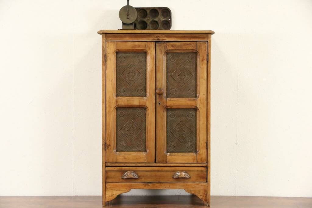 Sold Country Pine 1870 Antique Pantry Pie Safe Punched