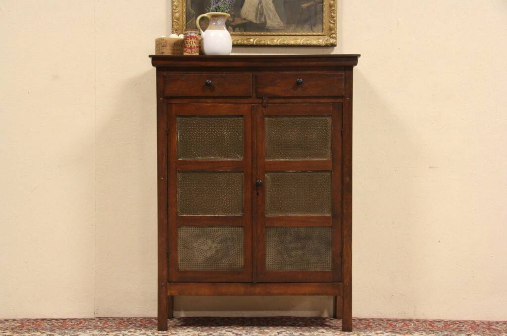 Sold Country Oak 1895 Antique Pie Safe Cupboard Punched
