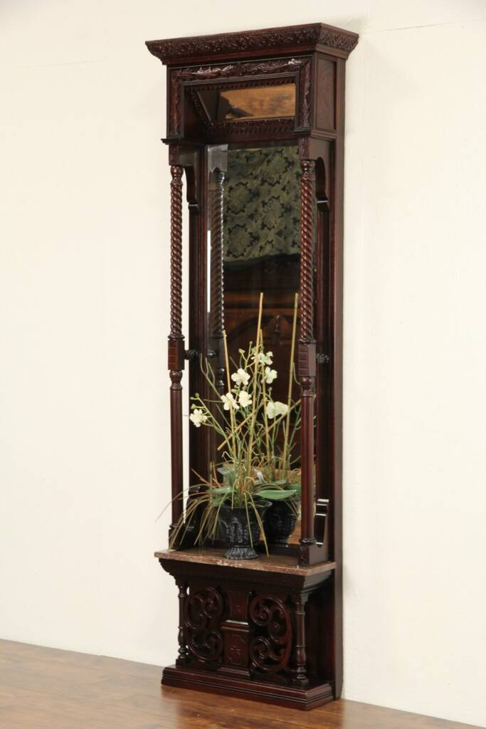 Foyer Mirror Shelf : Sold victorian carved antique beveled hall or foyer