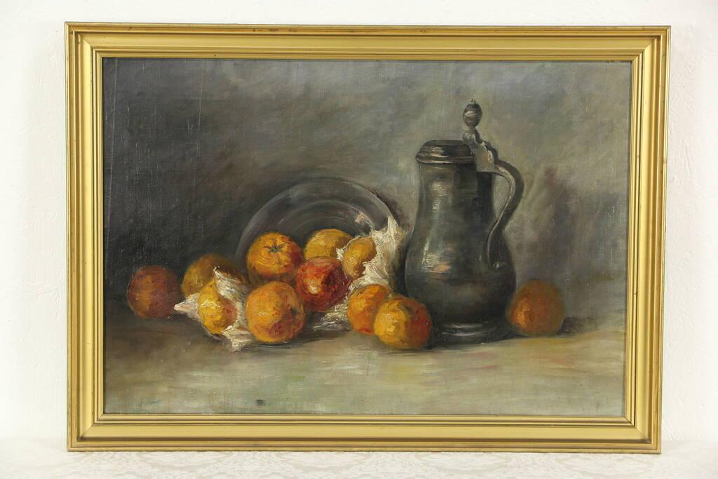 Sold Still Life Pewter Jug Amp Fruit Original Oil Painting