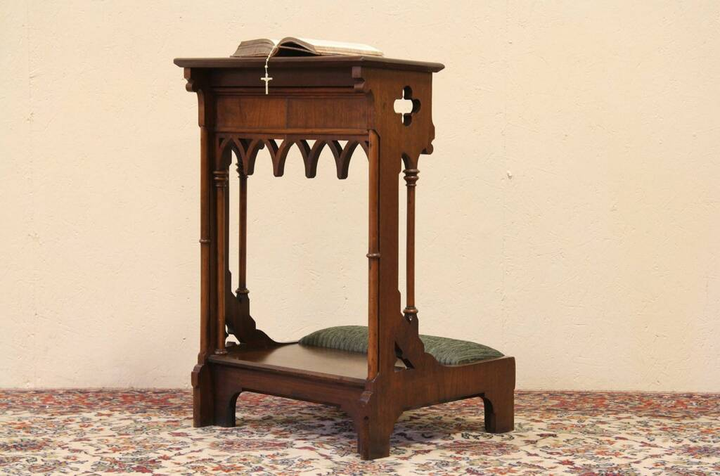 Sold Gothic 1860 39 S Walnut Prayer Kneeler Prie Dieu Harp Gallery Antique Furniture