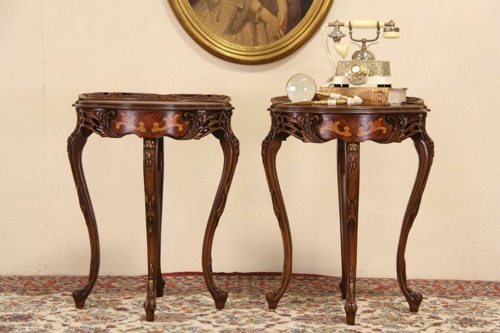 Sold Marquetry Carved 1920 S Pair Of Lamp Or End Tables