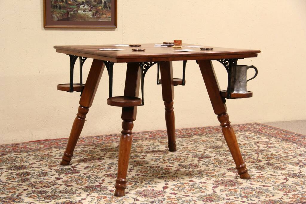 An 1890u0027s Game Table With Mug Shelves Was Called A Pub, Tavern Or Saloon  Table. Solid Birch And Ash, There Are Cast Iron Supports At The Corners Of  This ...