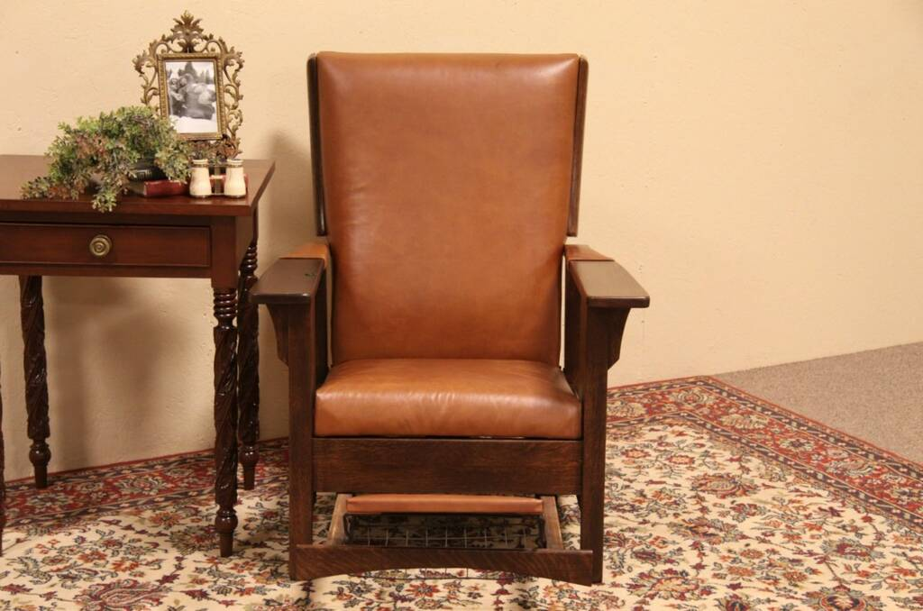 Sold Arts Amp Crafts Leather Amp Oak Morris Reclining Chair