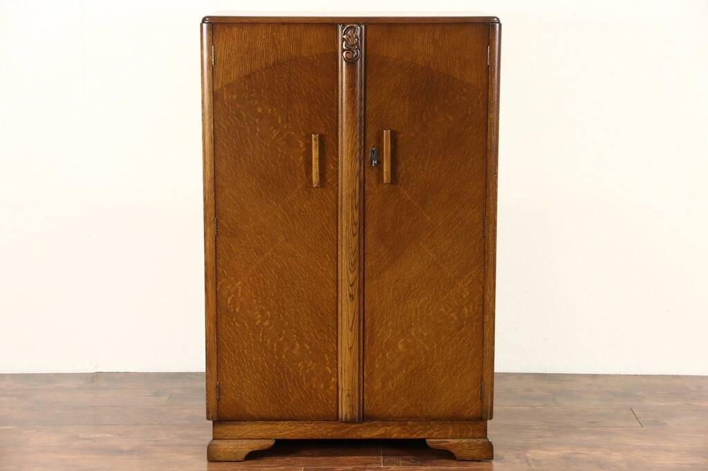 sold english art deco 1930 39 s oak armoire wardrobe or closet harp gallery antique furniture. Black Bedroom Furniture Sets. Home Design Ideas