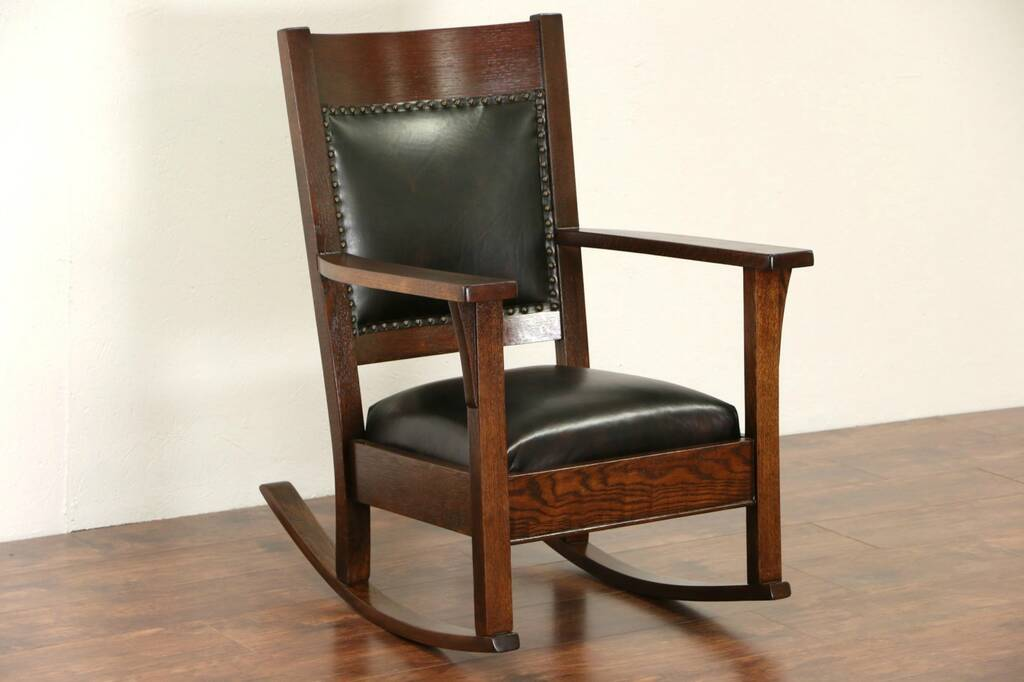 Sold Arts Amp Crafts Mission Oak 1910 Antique Rocking Chair New Leather Rocker Harp Gallery