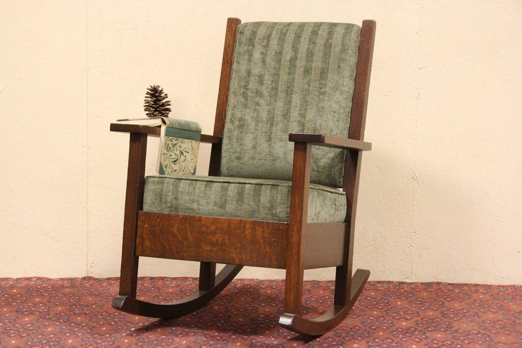Sold Craftsman Or Mission Oak 1900 Rocking Chair Harp