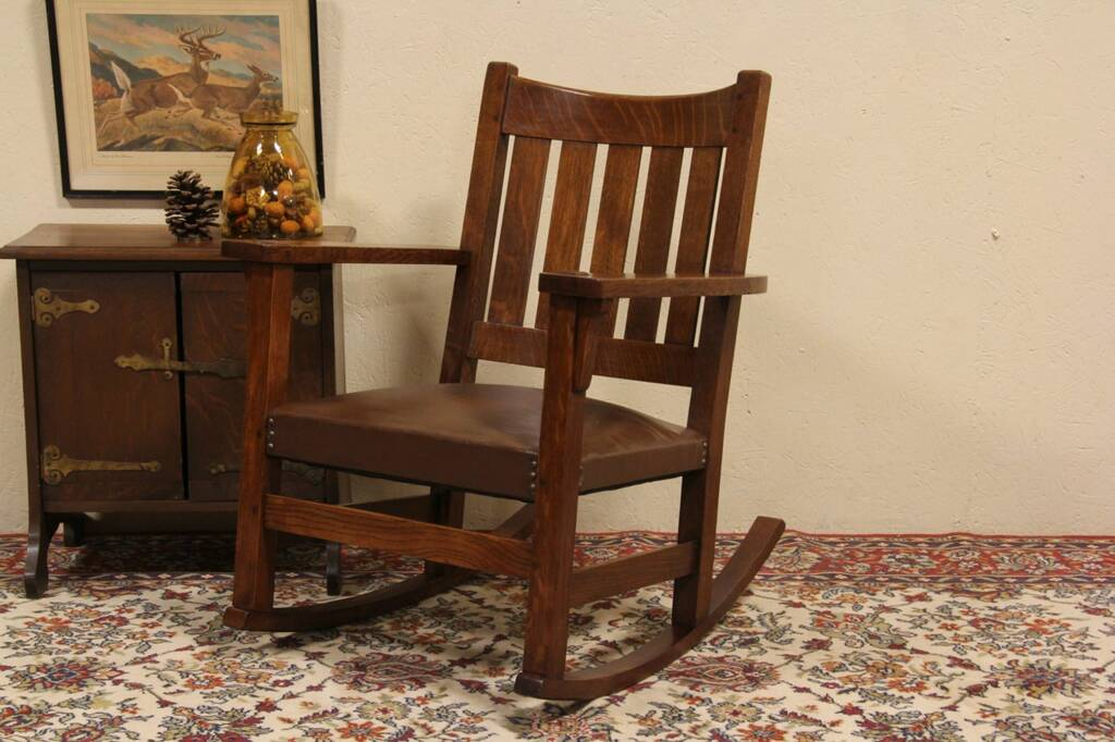 Sold Limbert Arts Amp Crafts Mission Oak Rocking Chair Harp Gallery Antique Furniture
