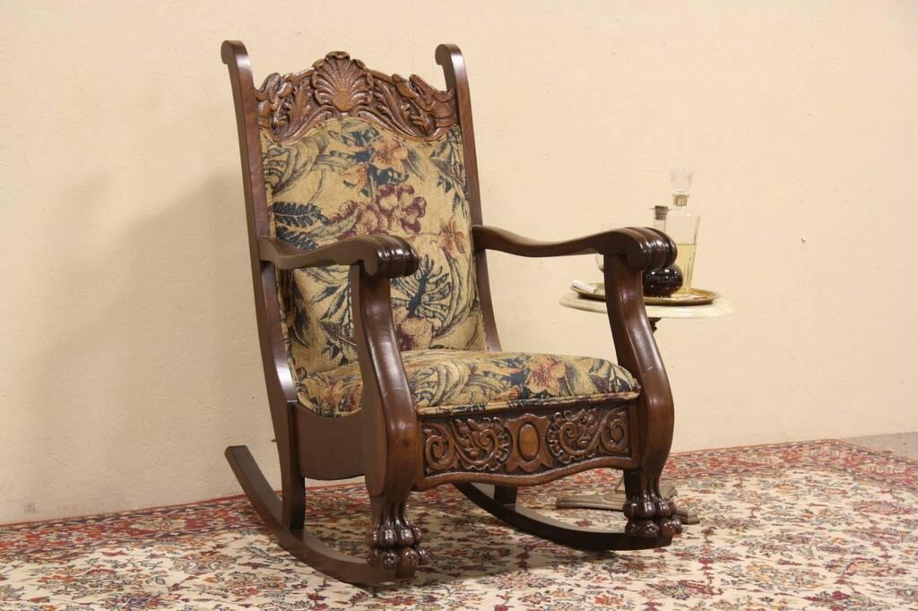 Sold Oak Carved Griffin Lion Paw Antique 1900 Rocker