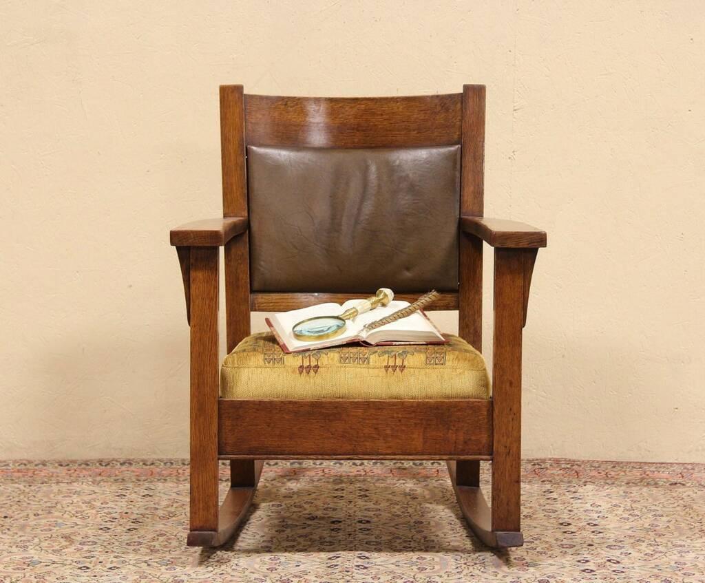 Art Crafts Mission Oak 1900 Antique Rocking Chair  eBay