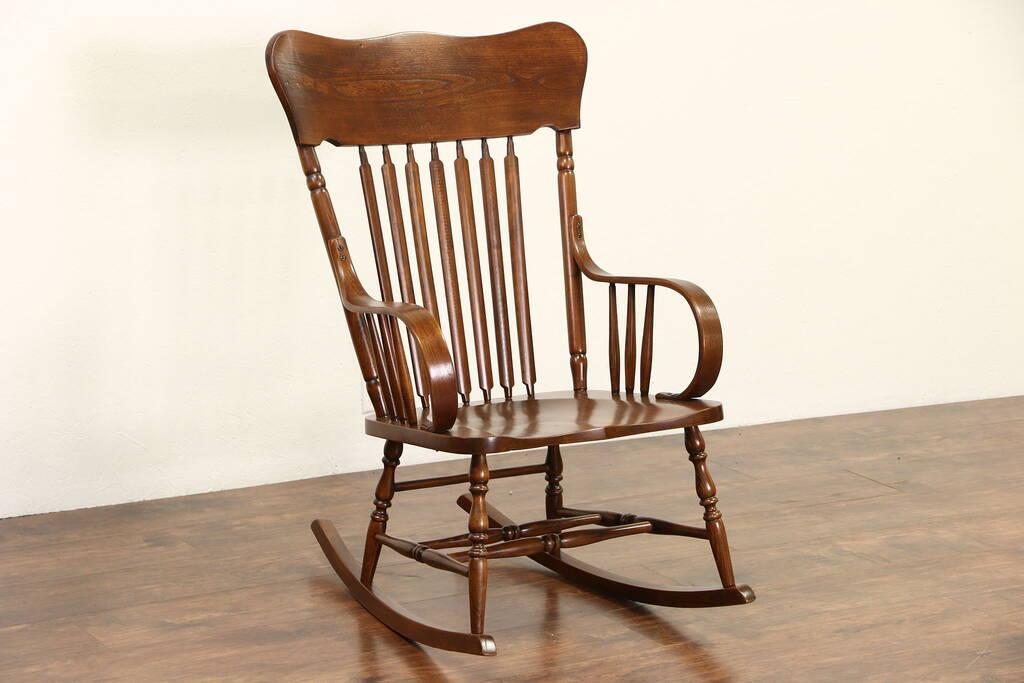 Sold Rocking Chair 1900 Antique Elm Amp Oak Large Rocker