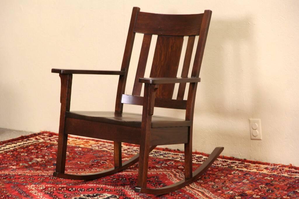 Sold Arts Amp Crafts Mission Oak Rocker 1905 Antique Rocking Chair Harp Gallery Antique Furniture