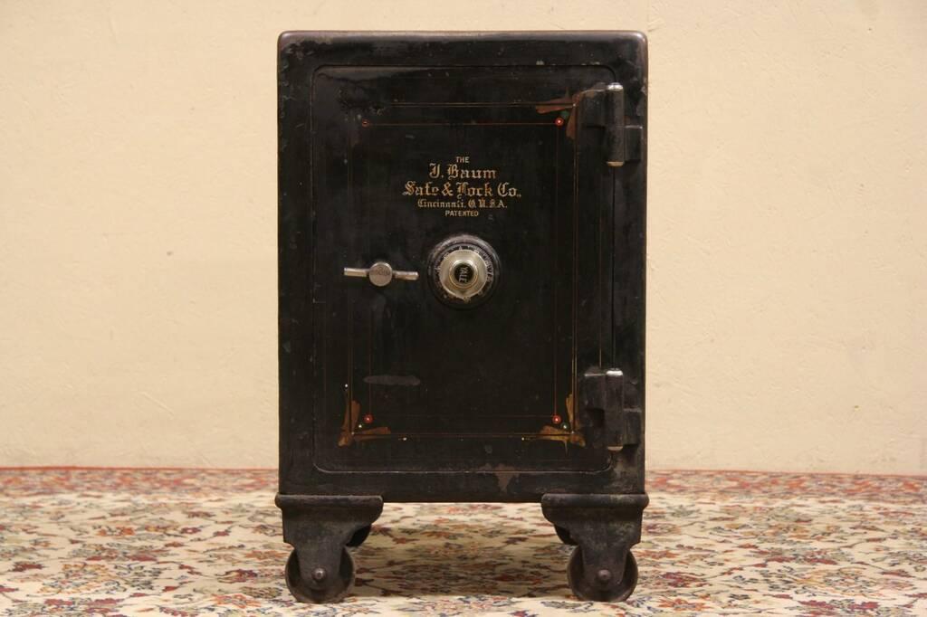 antique cast iron combination safe signed j baum safe and lock co cincinnati ebay. Black Bedroom Furniture Sets. Home Design Ideas