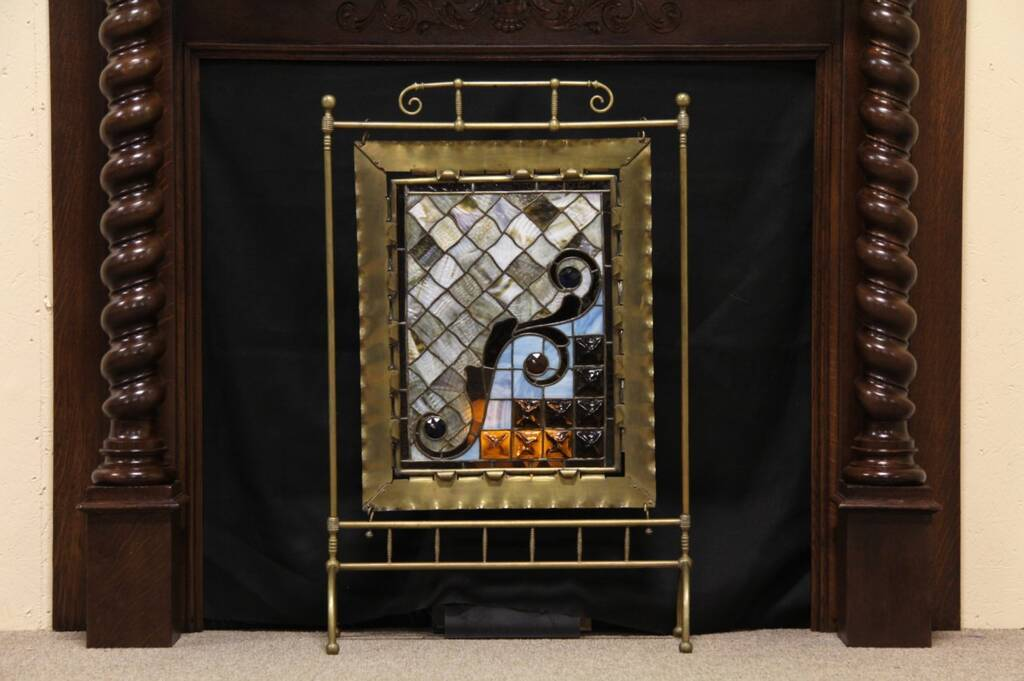 Sold Stained Glass Fireplace Screen Harp Gallery Antique Furniture