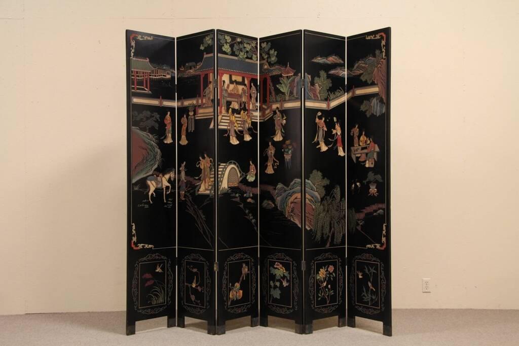Sold Chinese 6 Panel Hand Painted Coromandel Screen