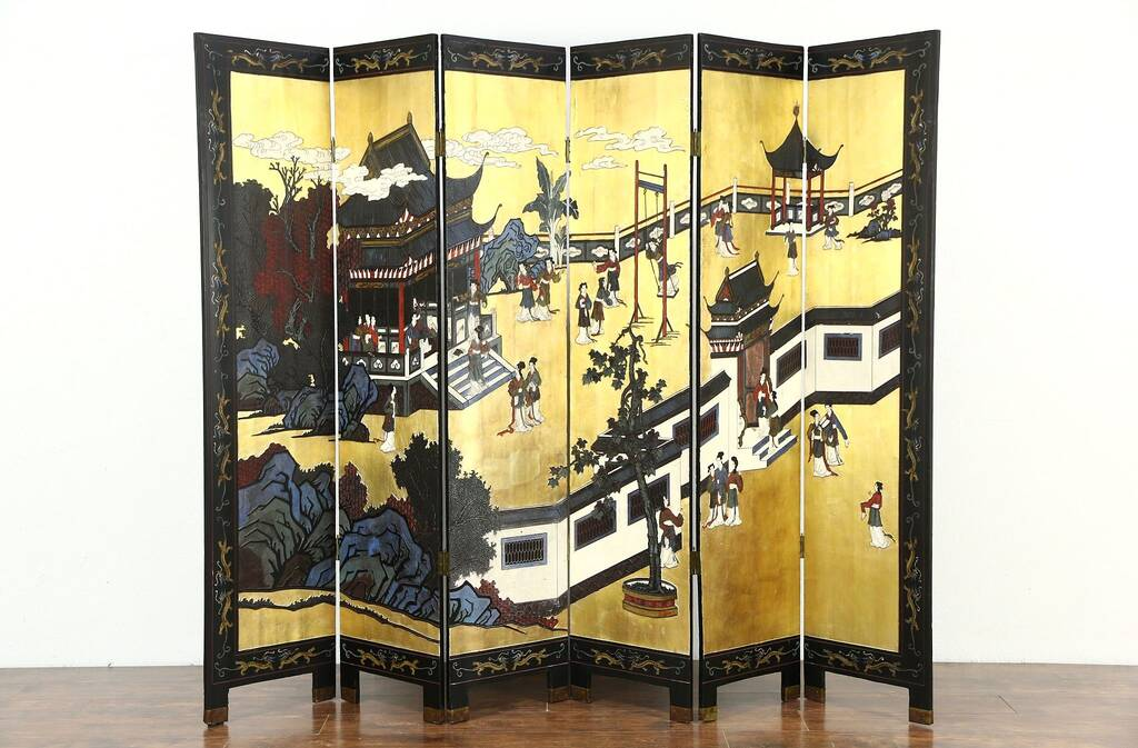 Chinese Coromandel Hand Painted Lacquer Vintage 6 Panel