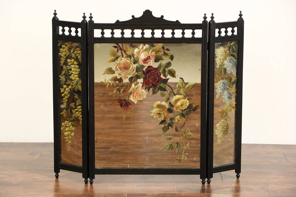 SOLD - Fireplace Screen Cherry Trifold Mirror, 1880's ...