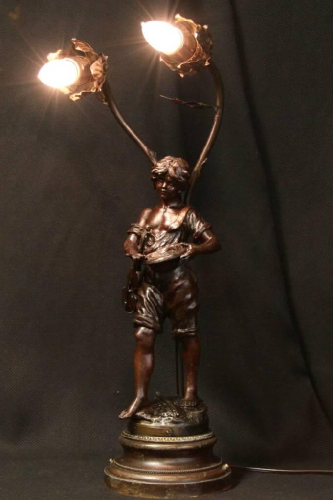 Sold Moreau Gypsy Fiddler Sculpture 1895 Lamp Harp