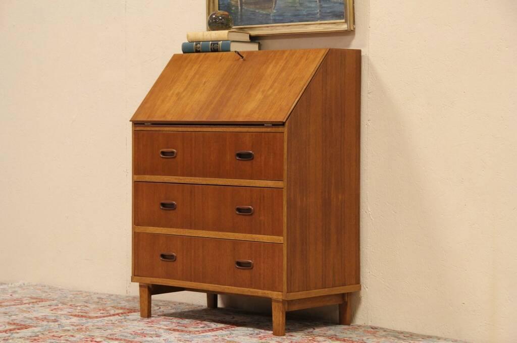 midcentury danish modern teak secretary desk 1960 vintage. Black Bedroom Furniture Sets. Home Design Ideas