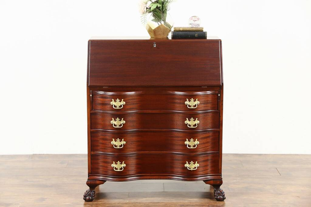 Sold Secretary Desk Mahogany 1930 S Vintage Serpentine Drawers Claw Feet Harp Gallery