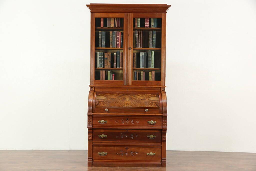 Victorian Eastlake 1890 Antique Cylinder Roll Top Secretary Desk Amp Bookcase Harp Gallery