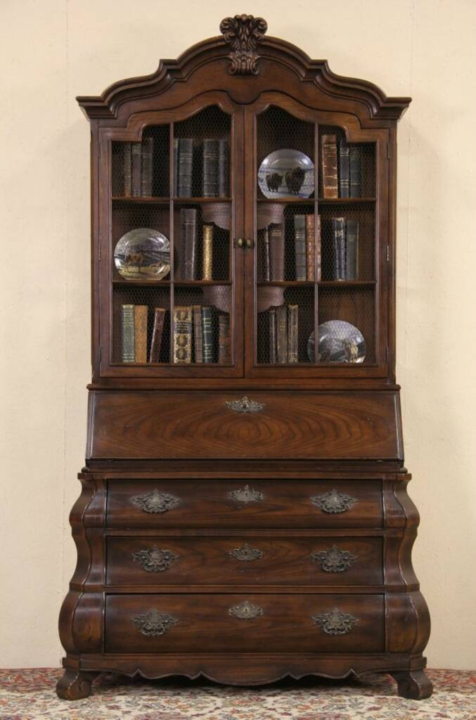 Sold Henredon Four Centuries Vintage Secretary Desk Amp Bookcase Display Top Harp Gallery