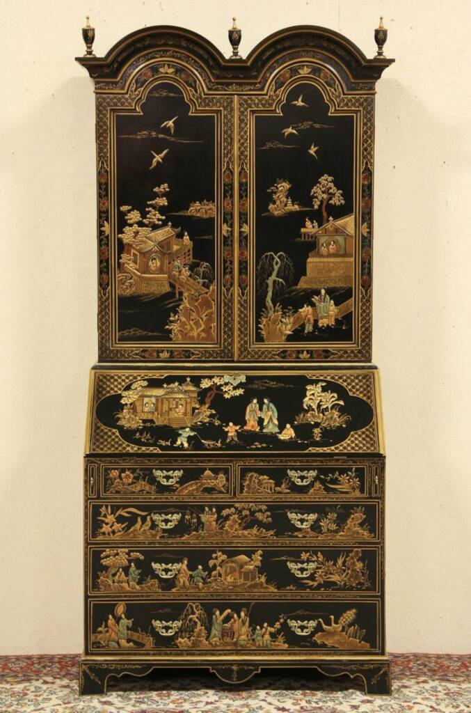 Sold Asian Hand Painted Lacquer Georgian Chinoiserie