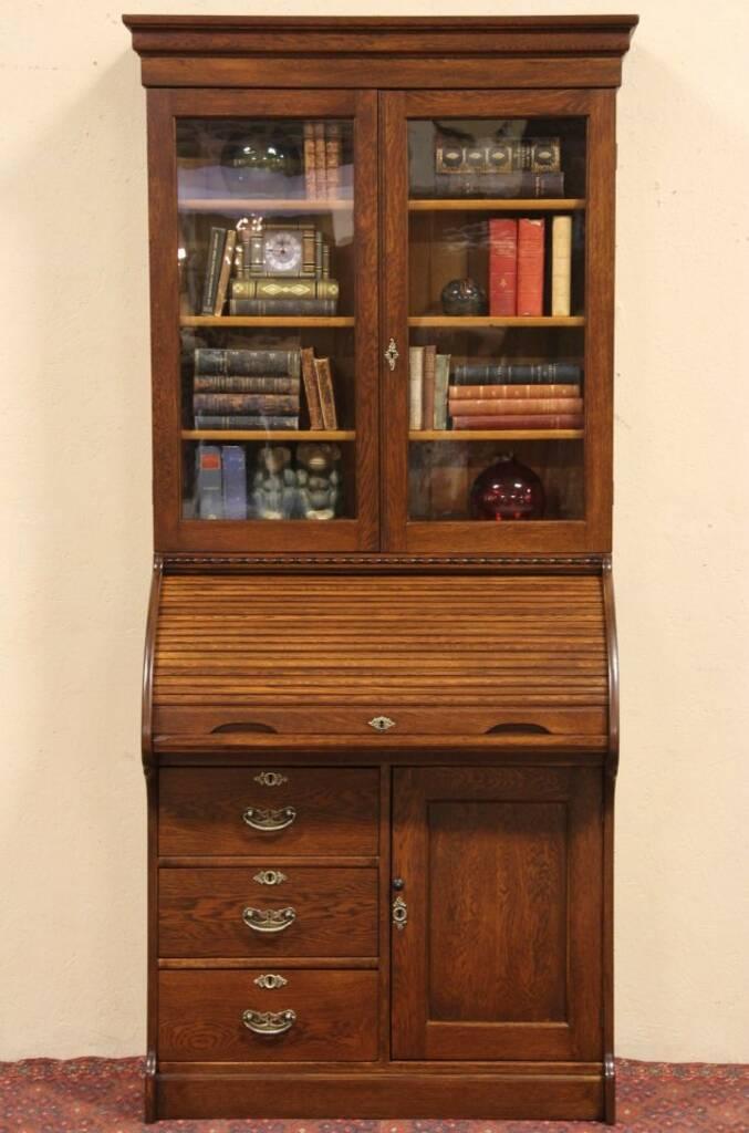 Sold Oak Rolltop Secretary Desk Bookcase Top Harp