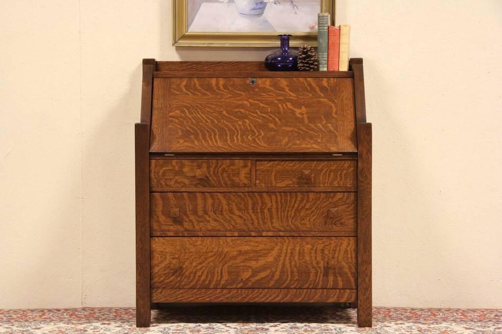 Antique Drop Front Secretary Desk >> SOLD - Arts & Crafts Mission Oak 1905 Antique Secretary Desk - Harp Gallery Antique Furniture