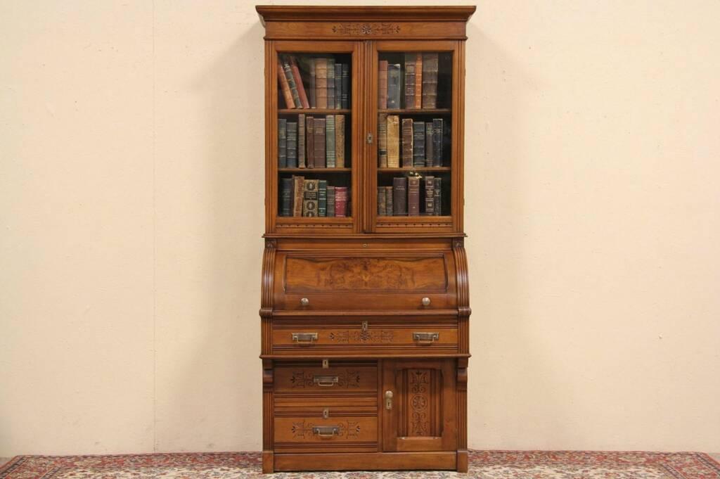 SOLD - Eastlake 1880 Walnut Cylinder or Barrel Roll Top Secretary Desk & Bookcase - Harp Gallery ...