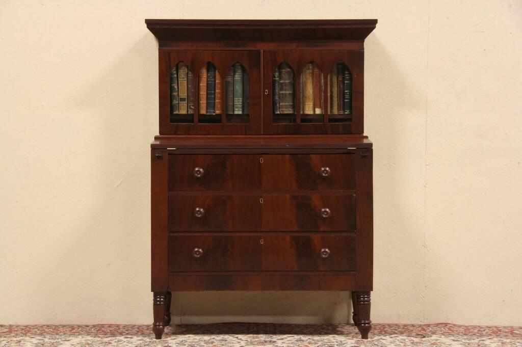 Sold Secretary Desk Amp Bookcase 1840 Antique Gothic