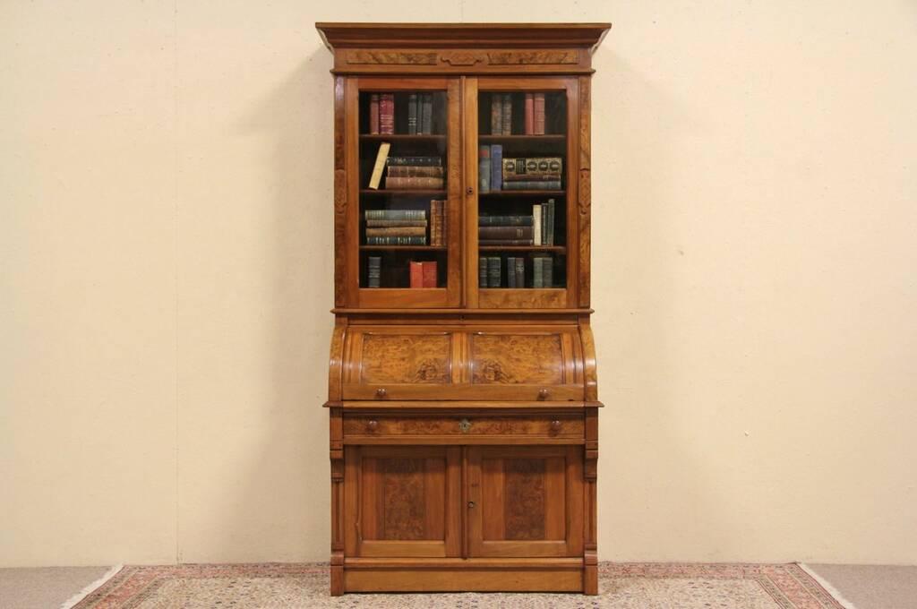 Sold Eastlake 1885 Antique Walnut Cylinder Roll Top Desk