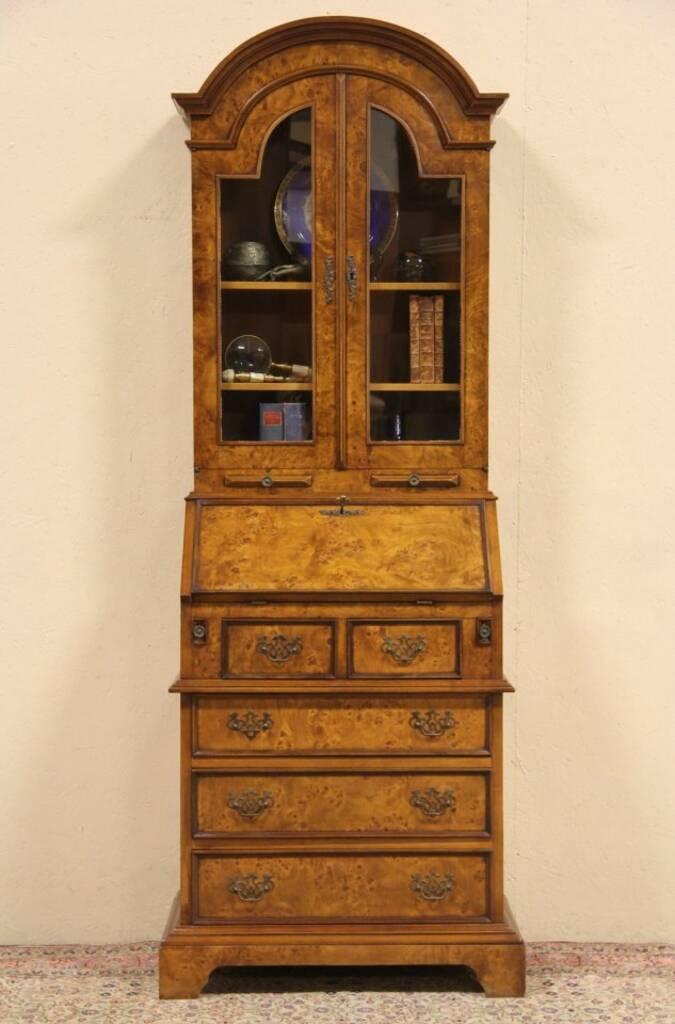 Antique Drop Front Secretary Desk >> SOLD - Burl Vintage Secretary Desk, Bookcase Top & Glass Doors - Harp Gallery Antique Furniture