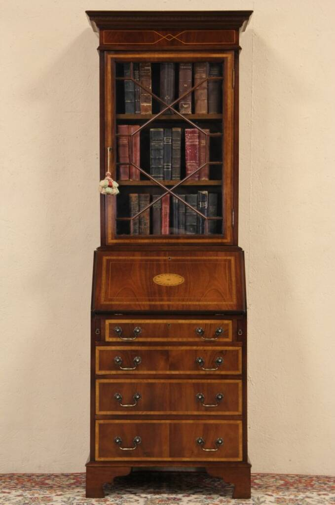 Sold English Vintage Narrow Secretary Desk Amp Bookcase