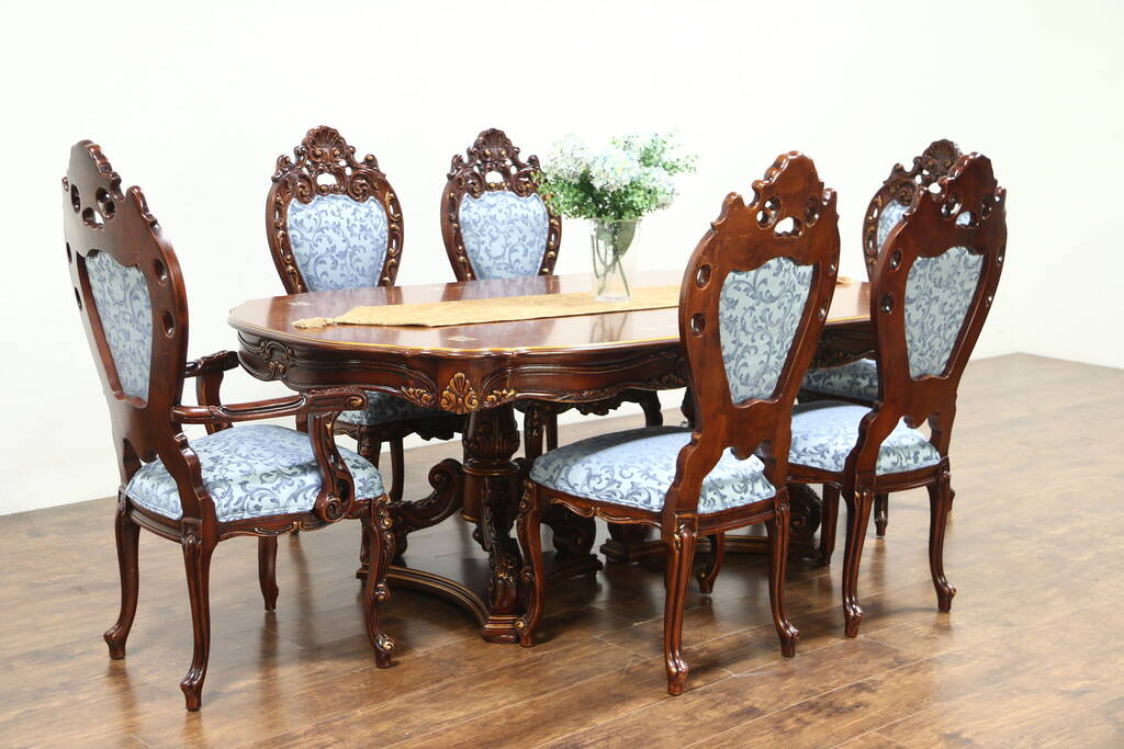 Baroque Carved Cherry Vintage Dining Set Table 6 Chairs