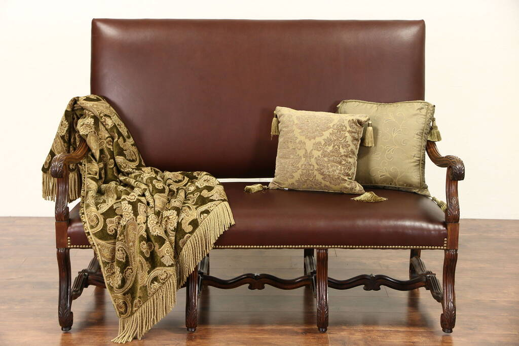 Sold Country French 1915 Antique Carved Walnut Amp Leather Settee Or Loveseat Harp Gallery