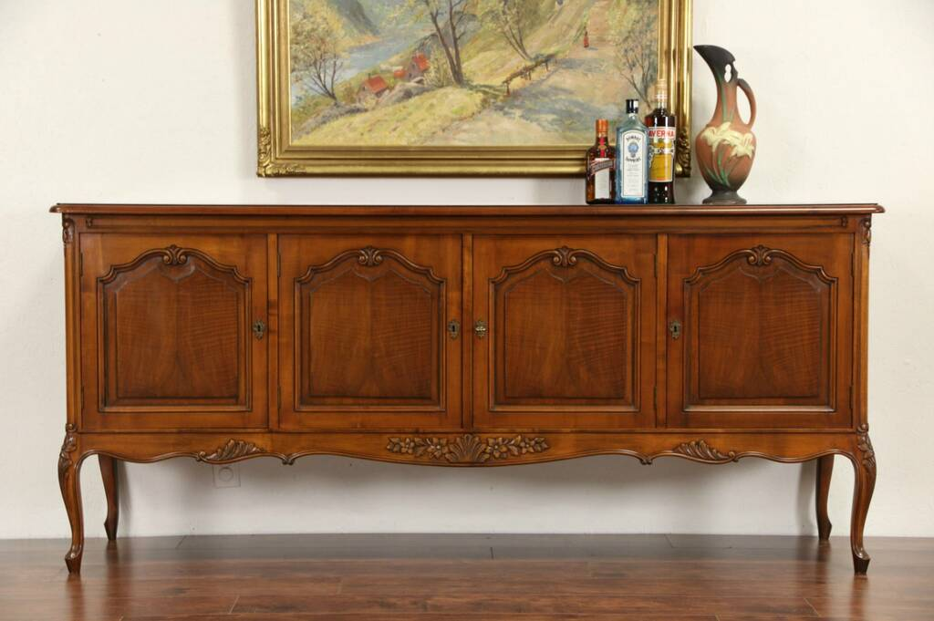 sold county french 1940 39 s vintage walnut sideboard server or wide tv console harp gallery. Black Bedroom Furniture Sets. Home Design Ideas