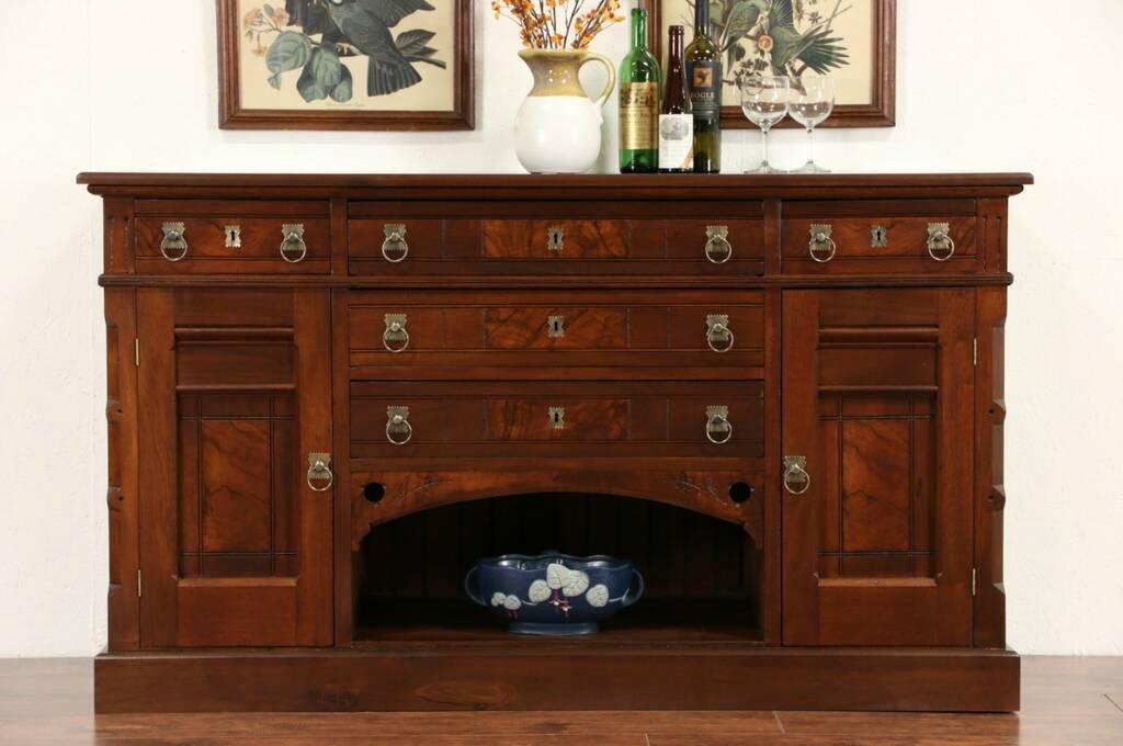 SOLD  Victorian Eastlake 1885 Antique Walnut Sideboard Server, Buffet, TV Co -> Walnut Tv Sideboard