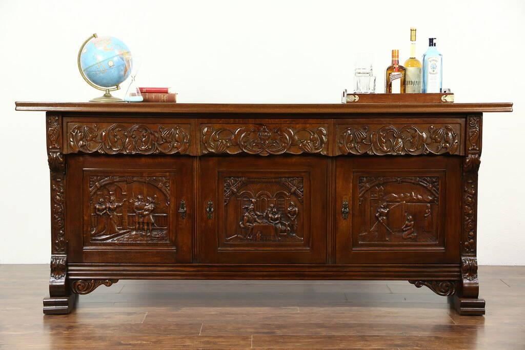 Sold Dutch Oak Sideboard Server Buffet Or Tv Console