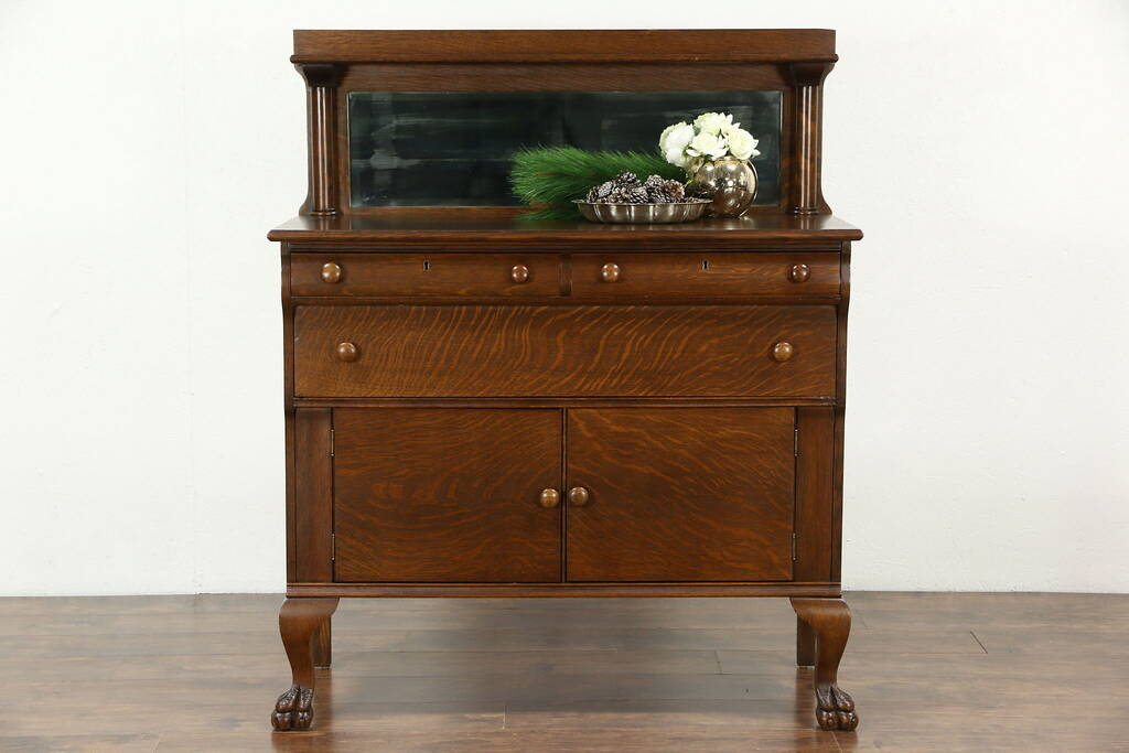 Sold Empire 1910 Antique Oak Sideboard Server Or Buffet