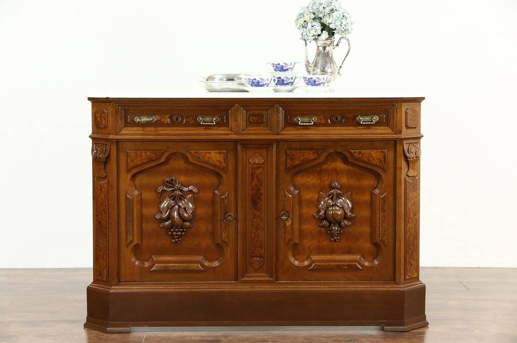 Sold Victorian 1880 Antique Marble Top Walnut Sideboard