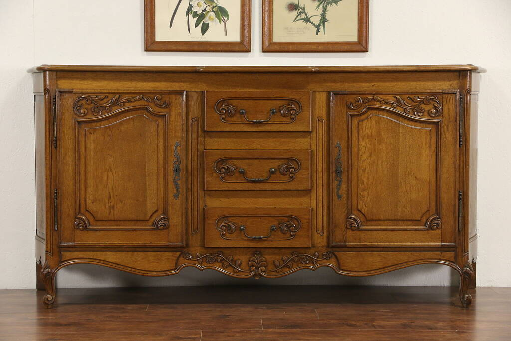 sold country french oak 1920 39 s antique sideboard server buffet or tv console harp gallery. Black Bedroom Furniture Sets. Home Design Ideas