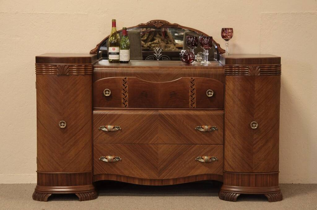 SOLD Art Deco Waterfall Sideboard Credenza Etched Mirror Harp
