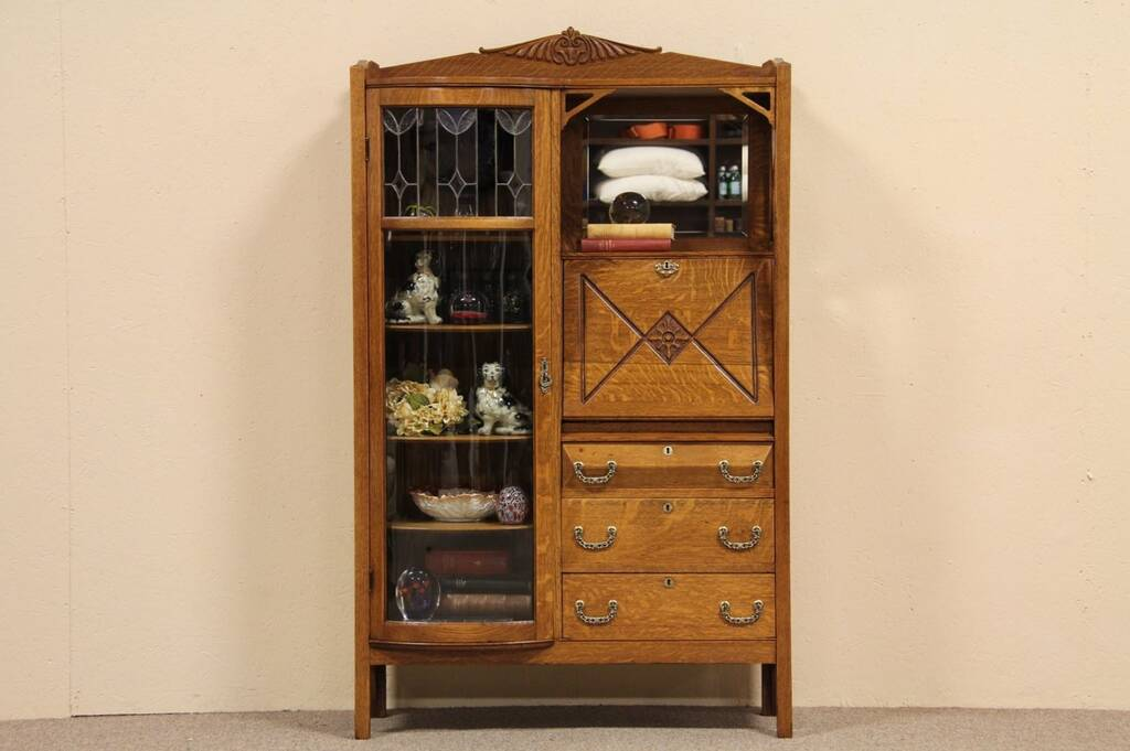 Sold Arts Amp Crafts Desk Bookcase Combination Side By